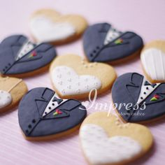 Bride & groom cookies.  Perfect for a dessert table at a reception.