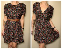 Vintage Floral Print Button Front Summer Hipster Dress with Matching Belt