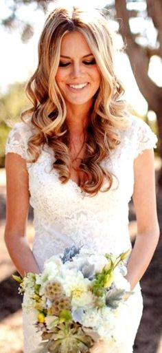 Bride's center part long down curls  bridal hair Toni Kami Wedding Hairstyles ♥ ❷ Wedding hairstyle ideas Perfection!