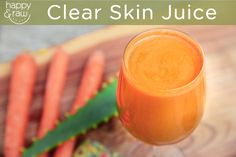 Raw Clear Skin Juice  This raw clear skin juice recipe is a great juice combination to help clear up any skin disorders like acne, skin blemishes, redness, or puffiness of the skin. It will also help your skin to shine and give it a nice radiant glow. - Read full recipe here: http://happyandraw.com/clear-skin-juice