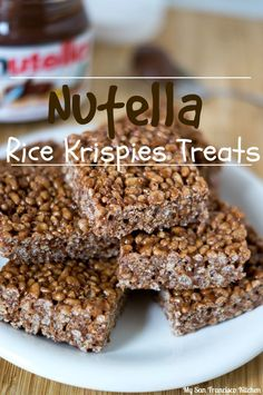 Nutella Rice Krispies Treats - chewy, chocolatey rice cereal bars that take less than 30 minutes to make with minimal cleanup!