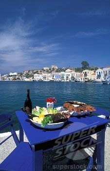 Enjoying lunch in Kastellorizo, Greece ....Love the blues and whites....