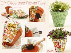 Dê mais cores ao seu jardim e Faça Você Mesmo vasos deflores decorados com tecidos.