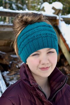 Messy bun hats are all the rage, and I wanted to come up with my own version of this super cute trend. This pattern is knit in the round (because who has time to sew up a back seam?) and features a…
