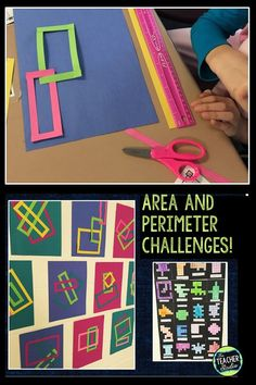 Most math programs present area and perimeter challenges as fill in the blank tasks. Area and perimeter can be hands on, Math Resources, Math Activities, Maths 3e, Area And Perimeter, Math Challenge, Math Measurement, Was Ist Pinterest, Fourth Grade Math, Math Art