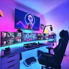 Gamer Bedroom, Bedroom Setup, Room Design Bedroom, Room Ideas Bedroom, Best Gaming Setup, Gaming Room Setup, Cool Gaming Setups, Pc Setup, Computer Gaming Room