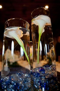 Cala Lilly Centerpiece by candle light.