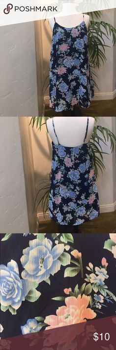 FOREVER 21 Floral Slip Dress 💥NEW WITH TAGS💥 Short, blue/pink floral slip dress with adjustable spaghetti straps. Fully lined, Size S. Sorry, no trades. Forever 21 Dresses