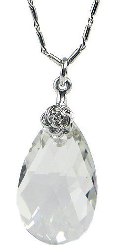"Pear Drop Swarovski Elements Crystal Pendant Necklace W. 18k White Gold Plated Chain (Clear) Arco Iris Jewelry. $23.00. Made with Genuine Swarovski Elements. White Gold Plated (Tarnish-free). Money-back Satisfaction Guarantee. Total Length = 16-1/4"" ---  Chain Length - 15"" + Extension Cord - 1-1/4"". Available in Clear, Yellow Topaz Colors. Save 57% Off!"