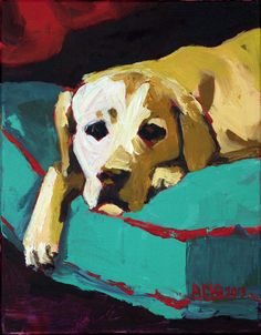 "Lazy Yellow Lab, Original 11""x14"" Acrylic on canvas. Labrador's are awesome:) https://www.facebook.com/AMOpainting"