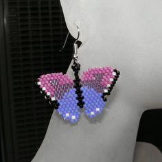 Brick Stitch Butterfly Earring Pattern #3 - Kittyloaf Designs