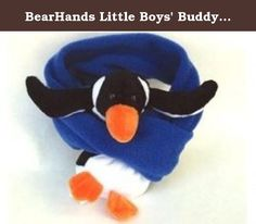 BearHands Little Boys' Buddy Scarf, Black/White/Cobalt Blue, One Size. Buddy scarves incorporate a plush toy so kids can snuggle with their buddies while leaving their hands free to play.