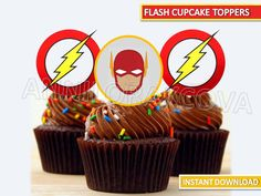 The Flash Cupcake Toppers/ The Flash Printables/ by ANNILORACK