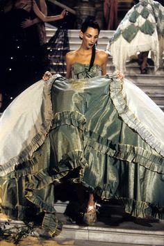 "lamarchesacasati: "" John Galliano for Christian Dior, Maria-Luisa (dite Coré) ball gown, Haute Couture, Spring Summer Collection, 1998. Model: Debbie Deitering. Tribute to Marchesa Luisa Casati. Opera Garnier, Paris. """