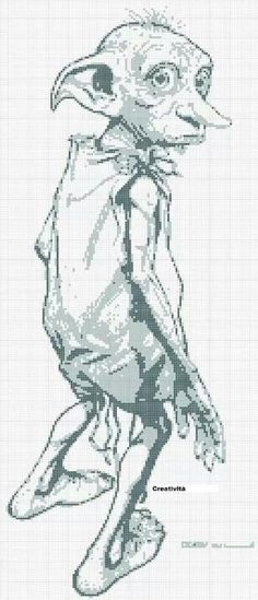 Dobby- Need to cross stitch this with a Harry Potter quote for one of my friends! Cross Stitch Books, Cross Stitch Charts, Cross Stitch Designs, Cross Stitch Patterns, Beaded Cross Stitch, Crochet Cross, Cross Stitch Embroidery, Harry Potter Crochet, Dobby Harry Potter