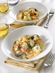 Monkfish Blanquette a smooth, creamy recipe with smoothness and finesse - Recettes avec du poisson - Meat Recipes Shellfish Recipes, Meat Recipes, Seafood Recipes, Healthy Dinner Recipes, Cooking Recipes, Monkfish Recipes, Healthy Eating Tips, Fish And Seafood, Food Inspiration