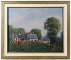 "Lot 257: Andrew DoBos (American, 1897-1985) ""Summer Cottage"" Oil on Board; Undated, signed lower right, depicting a cottage with trees in the background"