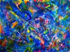 Vibrant abstract painting with beautiful details and colors. This piece is full of texture, lots of motion and light. Contains iridescent effects and beautiful color blending. High quality Golden a...