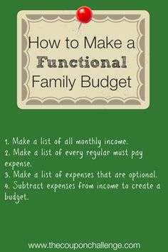 It's week #2 of the 52 Weeks to Eliminate Debt & Curb Spending challenge!  This week learn how to make a functional family budget.  This budget needs to work for YOU to help you eliminate debt.