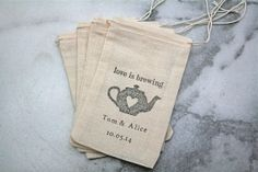 Personalized wedding favor bags, muslin, 3x5. Set of 50.  Love is Brewing tea pot with names and wedding date. via Etsy