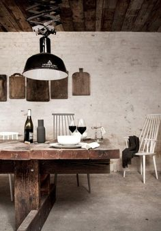 #Rustic  #dining_room #wood_slab_table