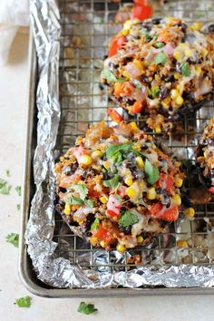 Filled with fresh veggies and black beans, these mexican quinoa stuffed portabella mushrooms are hard to resist! Topped with cheese and an…
