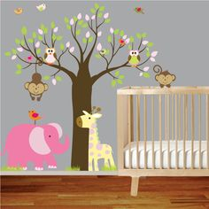 Jungle Safari Tree Monkeys Elephant Giraffe Vinyl Wall Art Decals Nursery Kids Girl. $150,00, via Etsy.