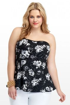 Plus Size Dakota Floral Peplum Tube Top | Fashion To Figure