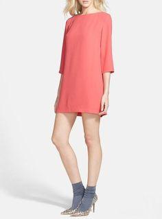 60's inspired - Coral Chiffon Shift Dress