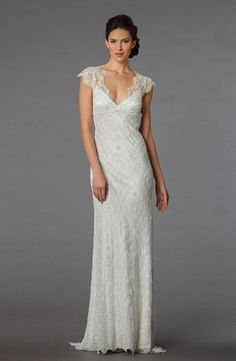 Pnina Tornai V-Neck Sheath Wedding Dress with Dropped Waist in Beaded Lace. Bridal Gown Style Number:32871477