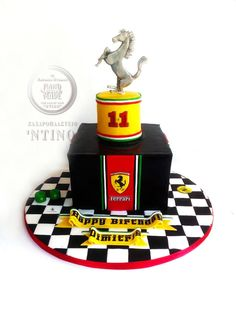 Ferrari - Cake by Aspasia Stamou Ferrari Cake, Ferrari Party, Fondant Cakes, Cupcake Cakes, Ideas Decoracion Cumpleaños, Planes Cake, Birthday Box, Birthday Ideas, Sandwich Bar