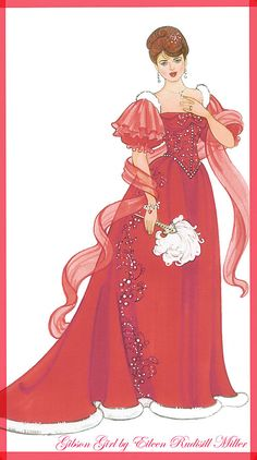 the bride wore red.   heeeheee just love this design .   Gibson Girl