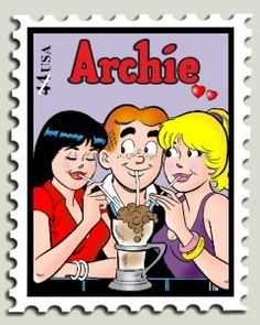 Archie Andrews, Betty and Veronica sharing a chocolate milkshake at Pop Tate's Chocklit Shoppe from Archie Comics fame on a 41 cent US postage stamp!