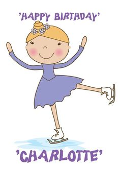 """HelloTurtle Birthday Cards  """"blonde hair ice skate"""" personalised card    Personalise and send this Birthday card to someone you care about. Same day despatch on orders received before 2pm (Mon-Fri)"""