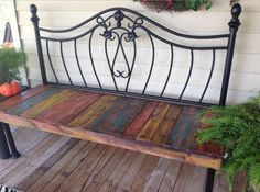 Victorian-style day bed from a headboard and reclaimed wood. (Photo only)