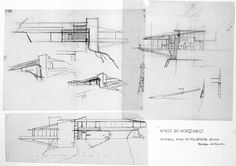 """Boyle's preliminary designs for the Mt Rushmore house - The Art of Film : Reel Connections: Vandamm's """"Frank Lloyd Wright"""" House on Mt. Rushmore in Hitchcock's """"North by Northwest"""" (1959)"""