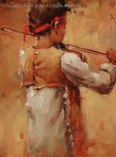 """Little Fiddler"" - Pintura a óleo sobre tela de Andre Kohn"