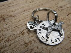 handstamped Key chain//Love my Lab//Labrador key chain//Labrador jewelry//Gift for Dad//Dog lover gift//Labrador key ring by InTheQuiet on Etsy