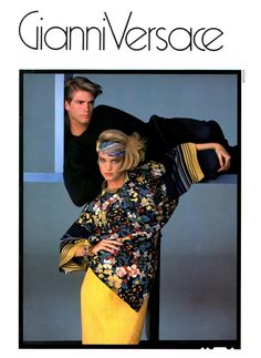 Tim Clement and Bonnie Berman in Gianni Versace Ensmble, photographed by Richard Avedon, 1984 80s And 90s Fashion, High Fashion, Original Supermodels, Versace Fashion, Vintage Versace, Fashion Advertising, Richard Avedon, Fashion Brand, Fashion Design