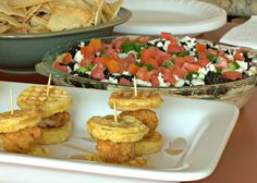 : Chicken & Waffle Sliders and 7 Layer Greek Dip