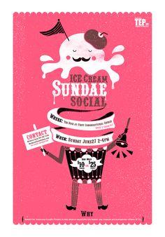 kongweetaro: sundae social ice-cream poster