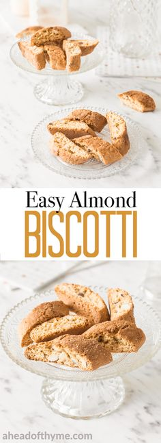 These easy almond biscotti are twice baked to crisp perfection. They are crunchy, light and they are the perfect companion to your favourite cup of tea, coffee, milk or hot chocolate. The only downside is that they are super addictive... so you won't have any leftovers! | AHEADOFTHYME.COM #biscotti #mothersday #dessert #cookies #almond via @aheadofthyme