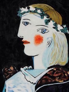 I Love the use of Color in this painting by Pablo Picasso: Portrait of Marie-Thérèse Walter with Garland, Pablo Picasso, Kunst Picasso, Art Picasso, Picasso Paintings, Georges Braque, Spanish Painters, Spanish Artists, Giacometti, Cubist Movement