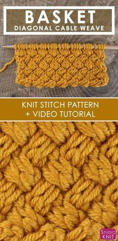 How to Knit the Basket Weave Stitch Diagonal Braided Woven Cables Easy Free Knit. How to Knit the Basket Weave Stitch Diagonal Braided Woven Cables Easy Free Knitting Pattern and Vi Knitting Stiches, Knitting Patterns Free, Free Knitting, Crochet Stitches, Stitch Patterns, Knit Crochet, Knitting Tutorials, Loom Knitting, Knitting Machine