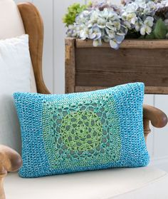Mod Granny Pillow Front free Crochet Pattern | Red Heart