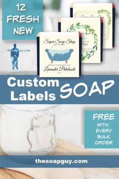 Looking for custom soap labels? Look no further! We offer free custom soap labels with every bulk order. Let us do the work for you. You tell us what you want and we'll print, cut, and send out with your order. Click through to see our fresh new custom soap label designs.