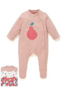 Three Pack Girls Fruit and Spot Print Sleepsuit | M&S