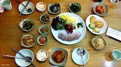 보쌈, Bossam 오늘은 보쌈 먹는날 !  BOSSAM DAY TODAY ! Squared away! All small dishes are lined up. Bossam is centered and various banchan(Korean side dish) is surrounded. Which one do you like best among here?   가지런히 정돈된 보쌈과 반찬. 정이 갑니다. 자~ 무엇이 있는지 살펴보아요. Let's look at Korean banchan.   전, Korean style of pancake 순두부, soft tofu 콩나물무침, seasoned bean sprout 마늘쫑, garlic stem 김치볶음, stir-fried kimchi 시금치무침, seasoned spinach 된장, bean paste 새우젓, salted shrimp 무조림, radish boiled down with soy sauce and red…