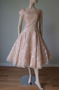 18ebf7e05f 1950s Nude Blush Embroidered Organza Occasion Dress    Spring-Summer     Bridal Semi Formal    New Look