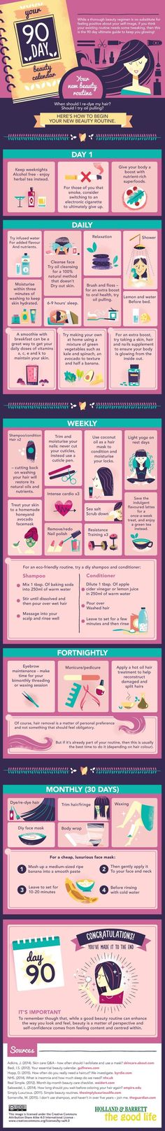 Beauty Routine Skin Care - Holland and Barrett present a 90-day schedule to make sure you remain at your beautiful best in a completely healthy way—all in a wonderful infographic. A good exfoliation is essential to clean the skin and eliminate dead cells. This prevents dirt from clogging pores and acne or blackheads.